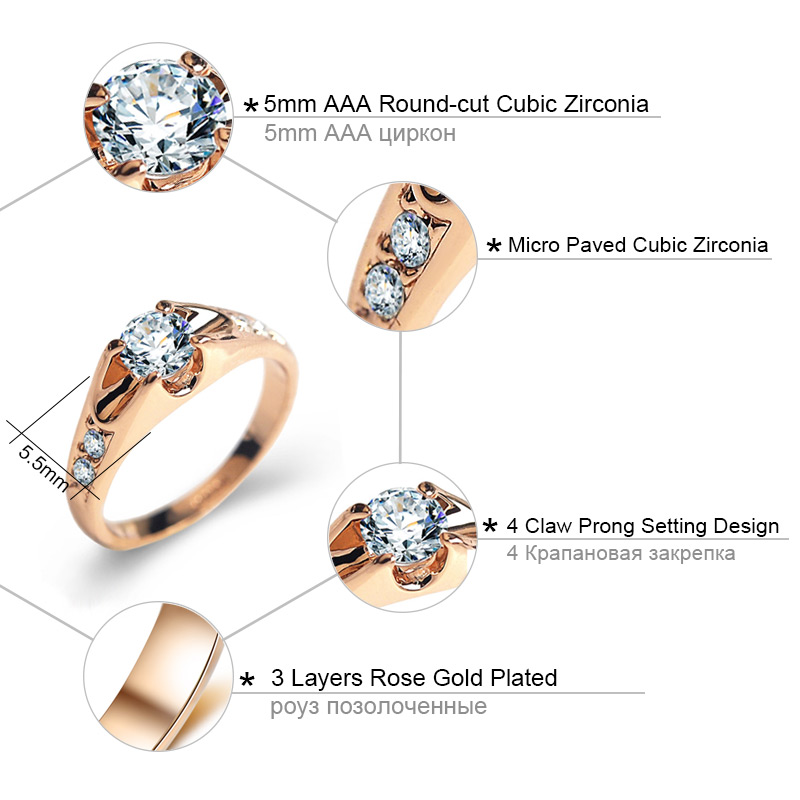 Austria Crystals wedding Rings for women Rose Gold color Gold Secret
