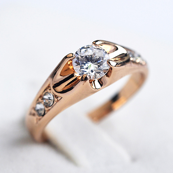 Austria Crystals wedding Rings for women Rose Gold color Gold Secret
